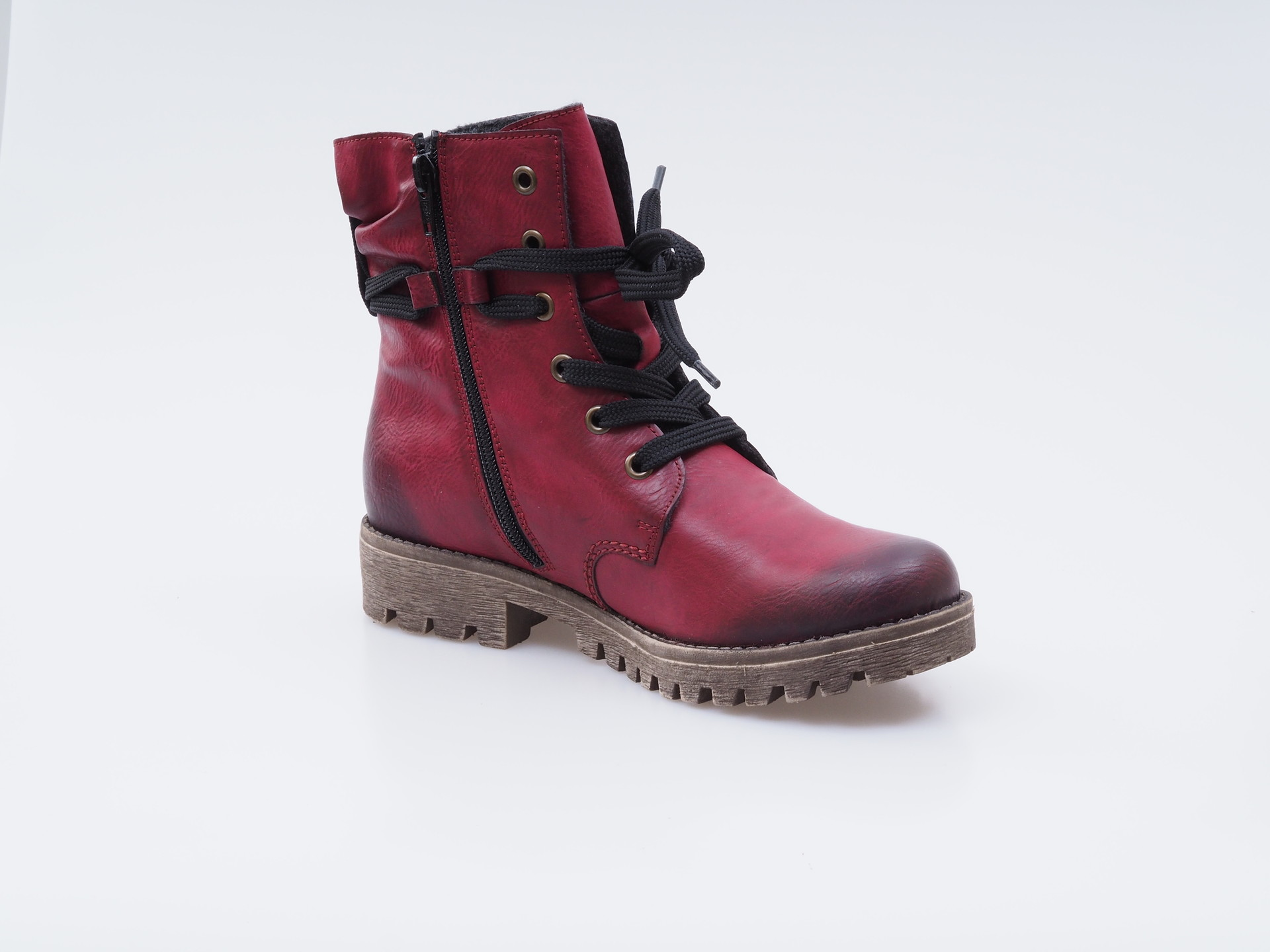 12589f93e7 Obuv Rieker - Kotníčky - Bordové zateplené šnurovacie topánky Rieker